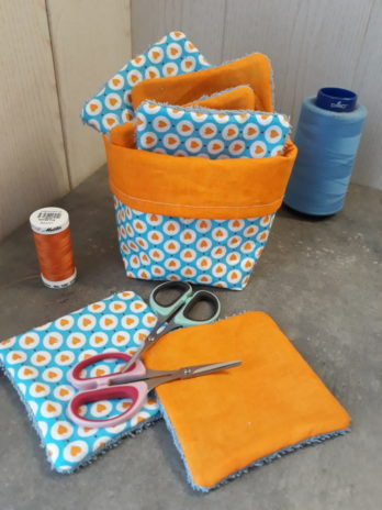 Lingettes lavables (10 pièces)  + panier